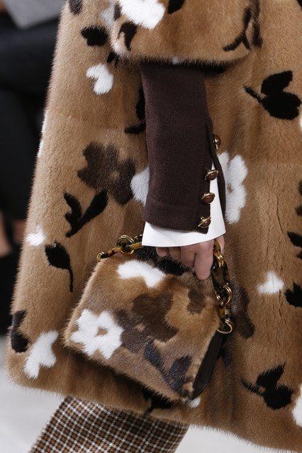 Michael Kors floral fur coat womens