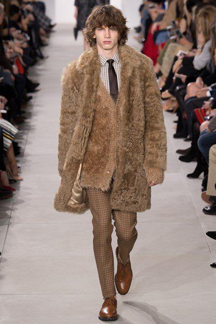 Michael Kors Men's camel coloured Fur Coat