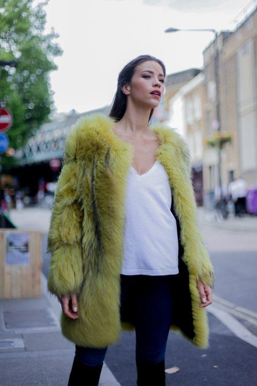 "<strong>Yellow Fur Coat<br /> <a href=""https://www.instagram.com/pologeorgis/"">@pologeorgis</a><br /><a href=""https://pologeorgis.com/"">Shop the fur style here</a></strong> Pologeorgis"