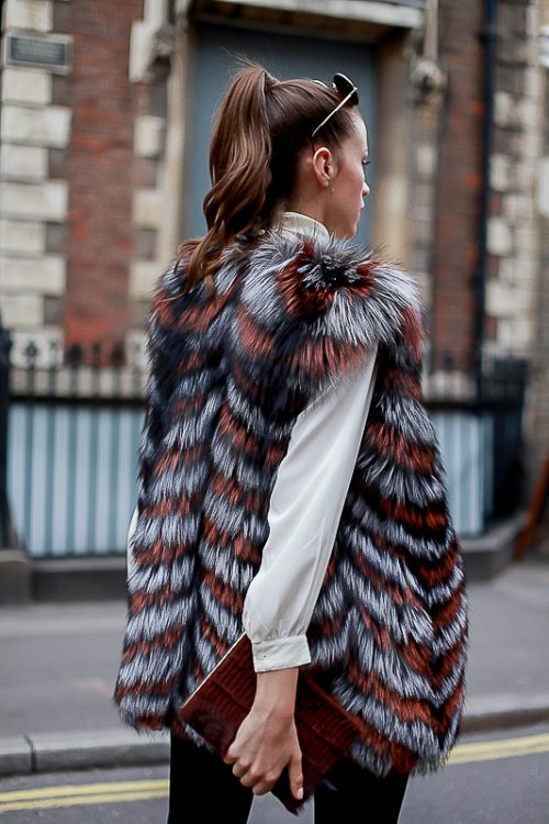 """<strong>""""Jessica"""" Reversible Fur Vest <br /><a href=""""https://rachelzeitlin.com/collections/all"""">Shop the fur style here </a><br />Brown Notebook <br /><a href=""""http://www.rebeccabradleylondon.com/"""">Shop the fur style here</a></strong> Rachel Z, Rebecca Bradley"""