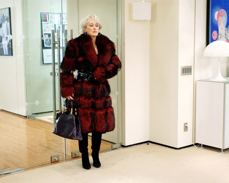 devil wears prada miranda priestly red fur coat