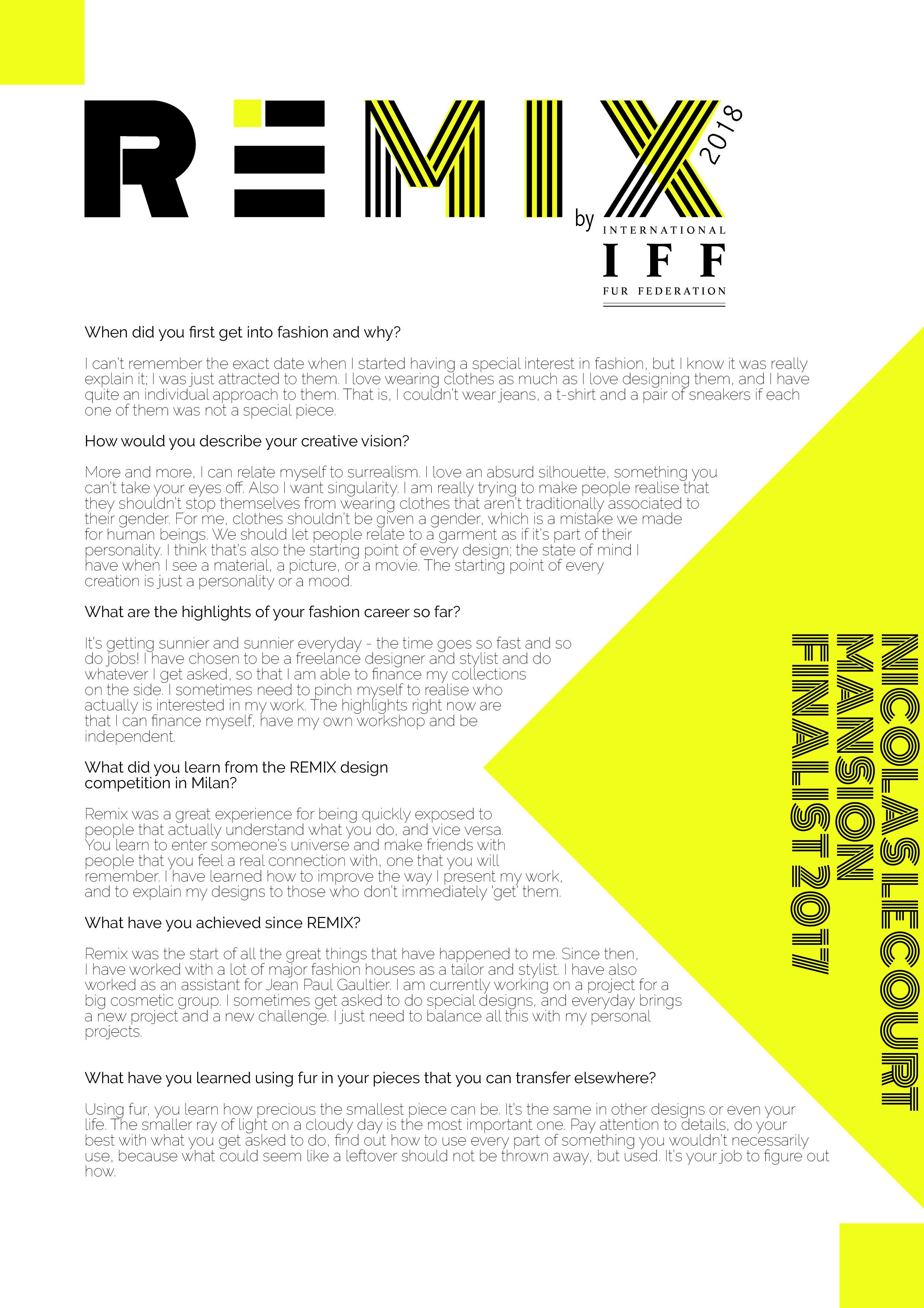 Application for Remix 2018 Fur Design Competition: Milan Fashion Week