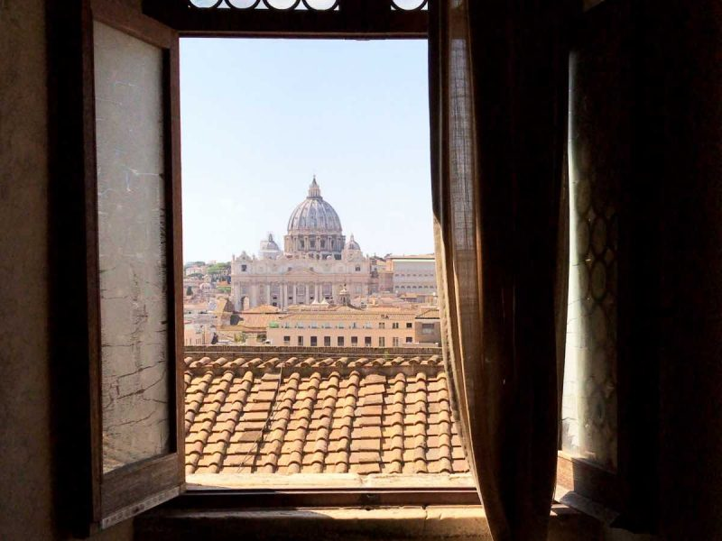 St. Peters Basilica from a window in St. Angelo's Castle in Rome.