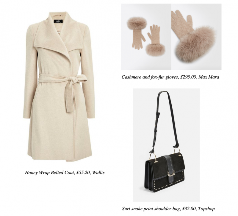 honey-wrap-belted-coat-wallis-cashmere-and-fox-fur-gloves-max-mara-suri-snake-print-shoulder-bag-topshop