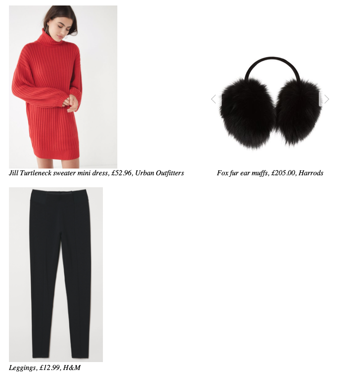 jill-turtleneck-sweater-mini-dress-urban-outfitters-fox-fur-ear-muffs-harrods-leggings-h&m